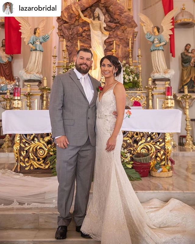 "A gorgeous dress on an even more stunning bride! #repost ""Our stunning #brideoftheday @kapimienta in her Lazaro #style3715 ❤️ Seeing this beauty is so inspiring! 🙏 #lazarobridal Share your pictures in Lazaro with the hashtag #tiedtheknotinlazaro to get featured! 🌹"" @lazarobridal"