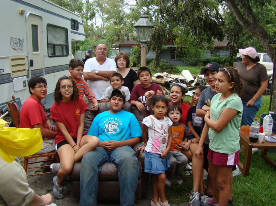 My cousins and me after clearing out our grandparent's house after Hurricane Ike swept through town.