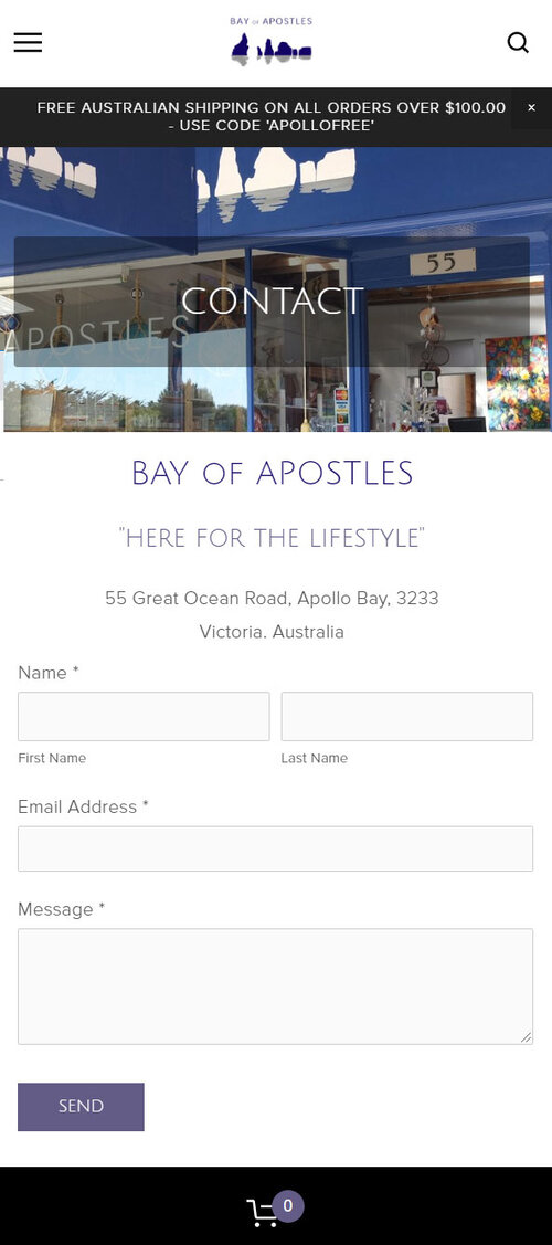 Bay of Apostles - Contact Page (mobile view)