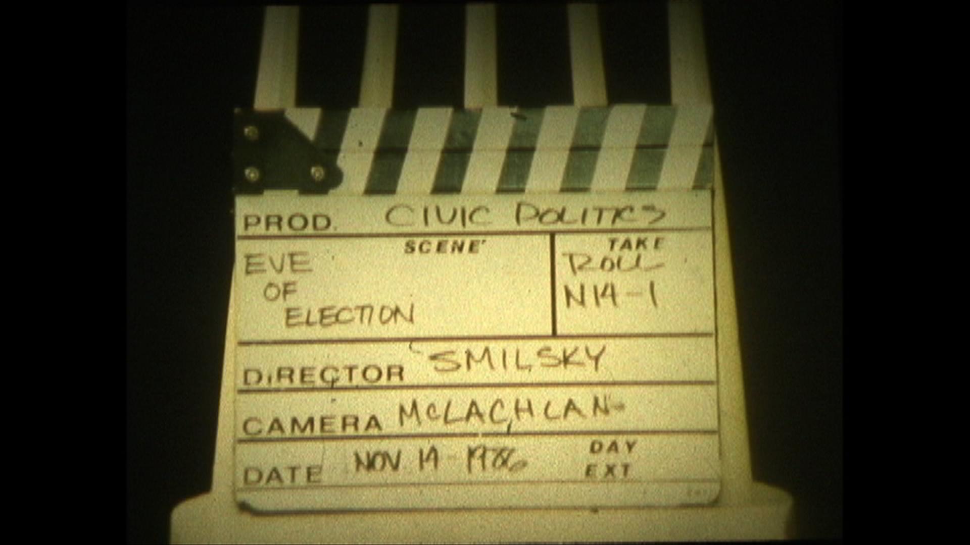 Slate from director Peter Smilksy's original film shoot in 1986.