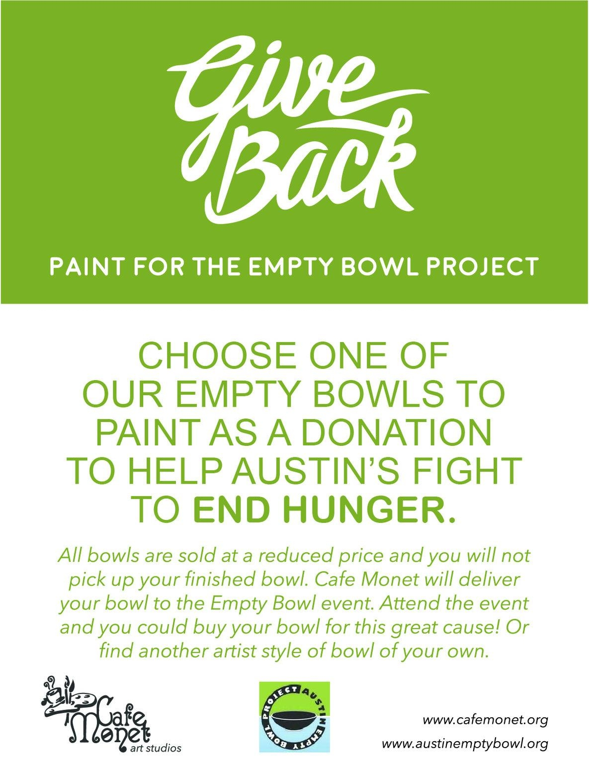 Hey Friends! We love being a place for you to feed your soul and get creative with friends and family. We also love being mindful of our neighbors who have different struggles than we may. Hunger in Austin is a real need and it is an honor to partner with you this fall as we paint pottery for a purpose. -