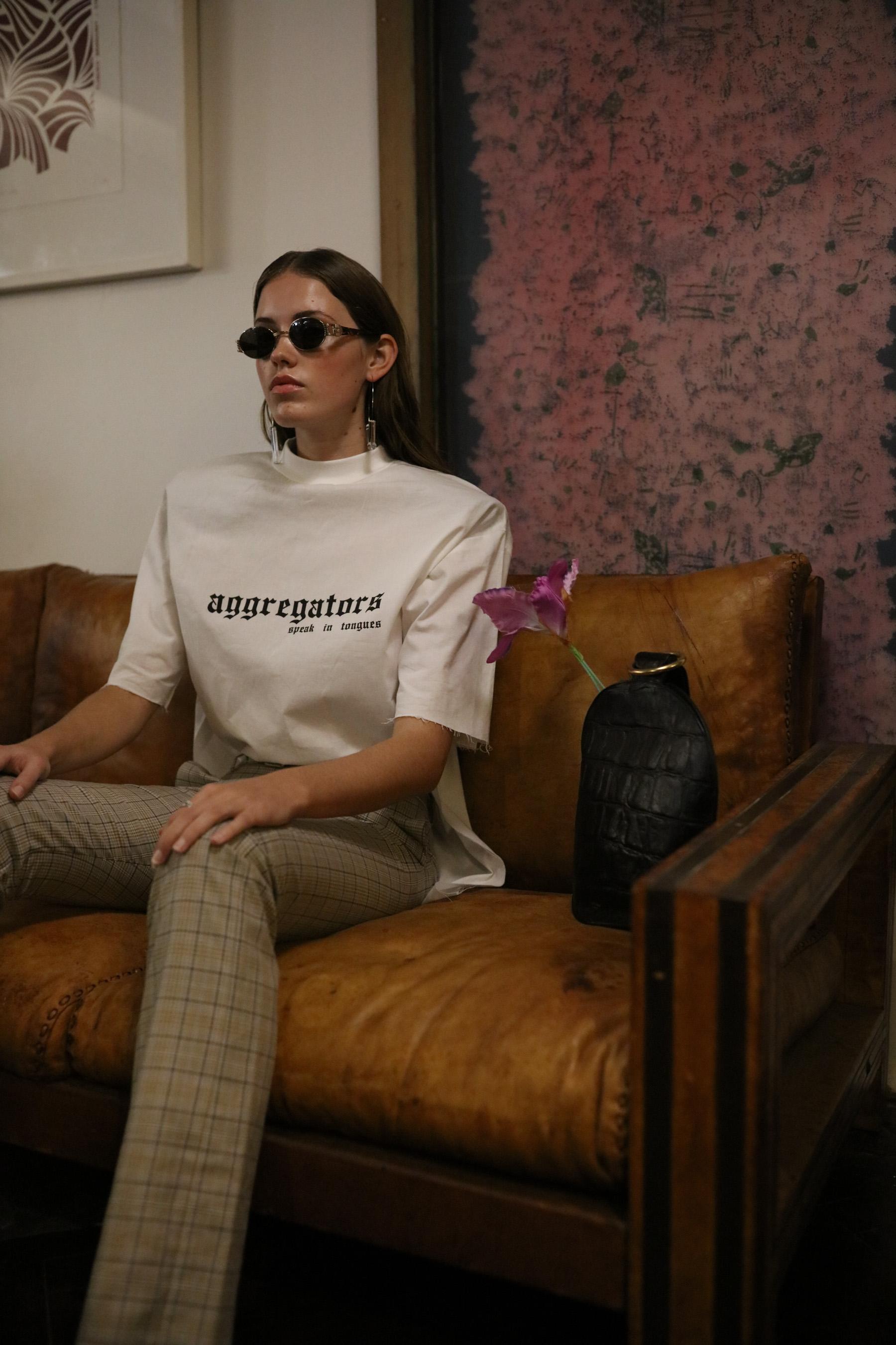 Sarah wears Samantha Diorio & Jake Paraskeva 'Aggregators Speak in Tongues' T-shirt