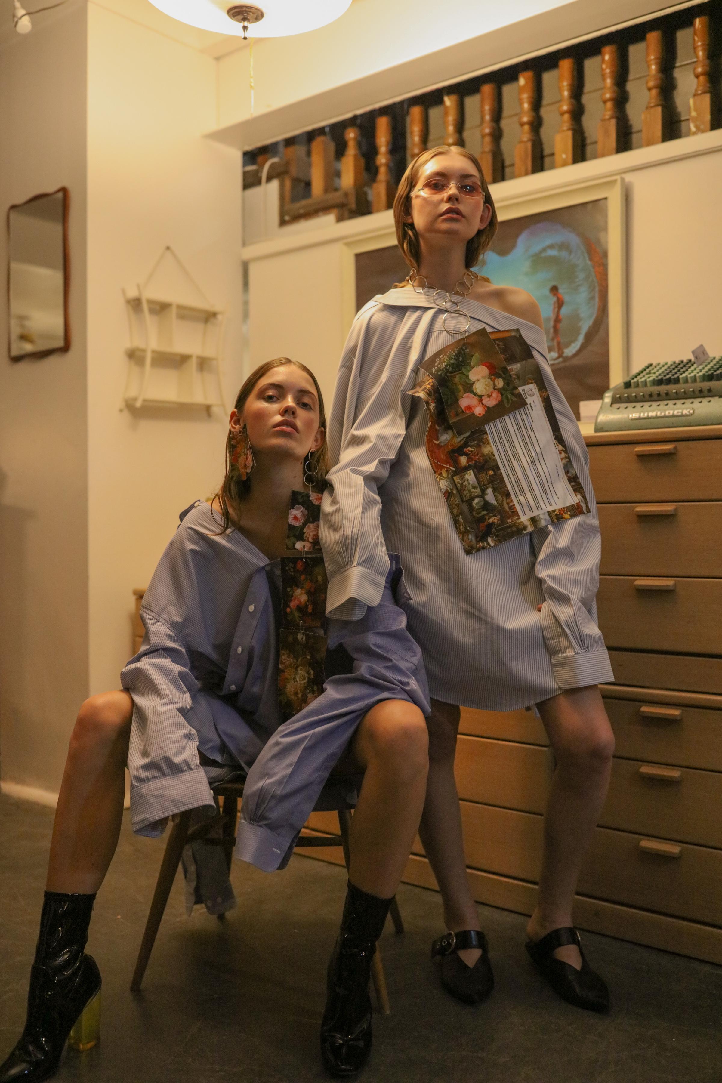 Sarah & Kymberley wear Samantha Diorio & Jake Paraskeva necklace/earring tags, Samantha Diorio shirts