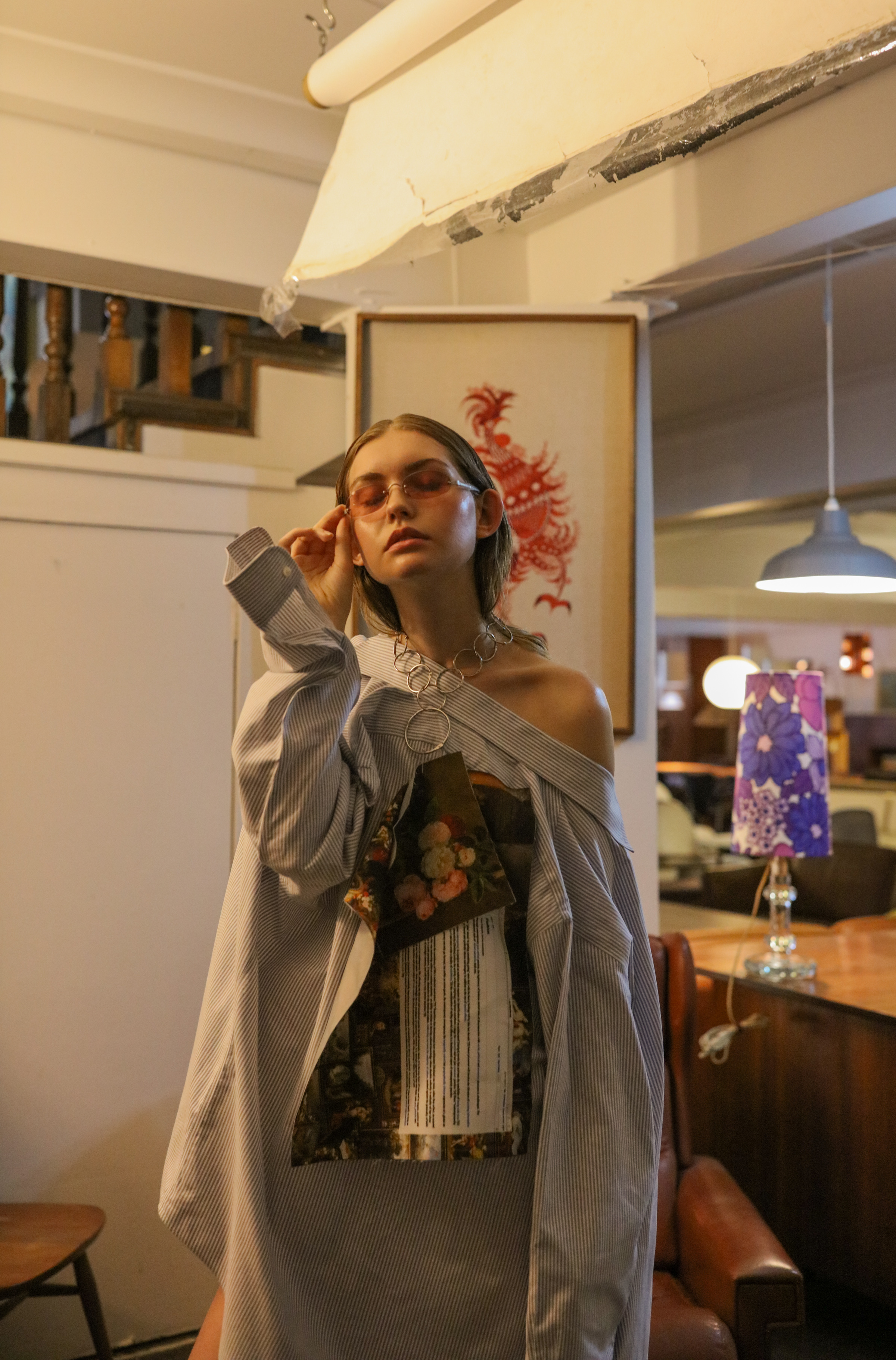 Kymberley wears Samantha Diorio & Jake Paraskeva necklace/earring tags, Samantha Diorio shirt