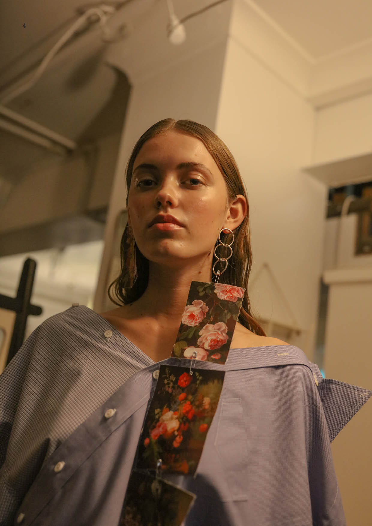 Sarah wears Samantha Diorio & Jake Paraskeva necklace/earring tags, Samantha Diorio shirt