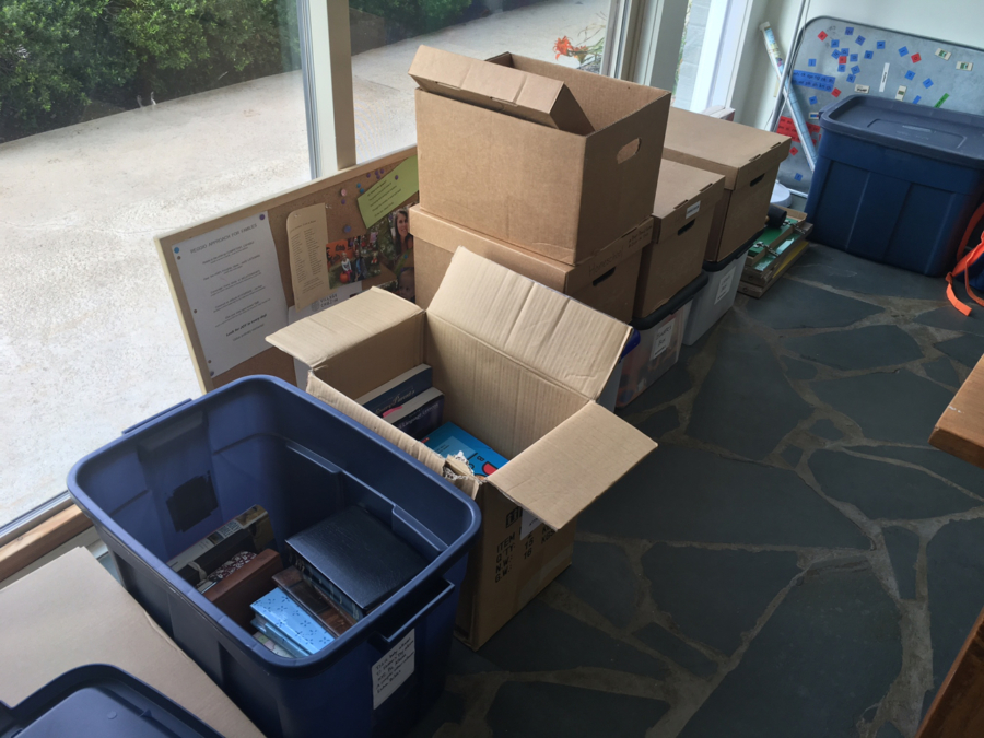 Boxes and bins for old school stuff, photo albums, Bob Books, etc.