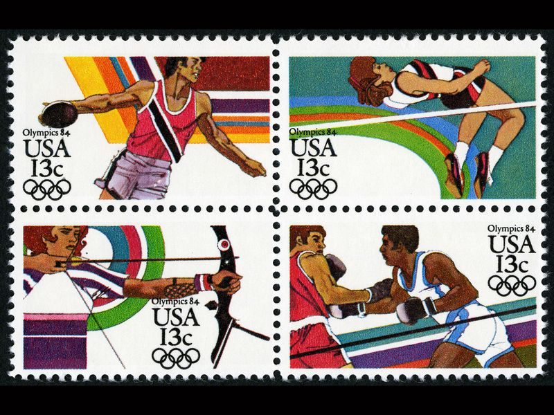 Scenes from the 1984 Los Angeles Summer Olympics. (National Postal Museum)