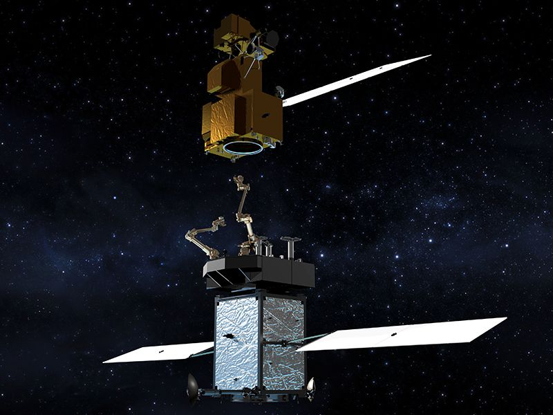 An artist's impression of the Restore-L craft, a space-based refueling station that will give new life to old satellites.(NASA)