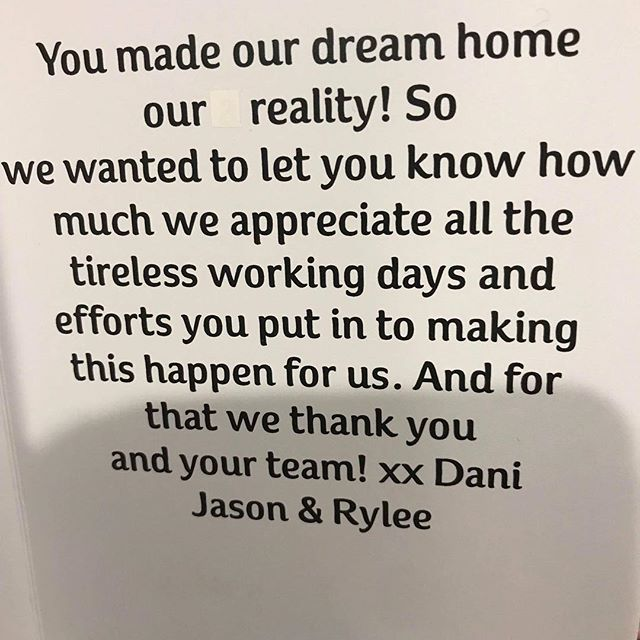 It's things like this that make us so happy! It's our honor to make your dream home a reality! #alconstructions #anthonylarneconstructions #home #dream #dreamhomes #baysidebuilder #melbourne #bestbuilder #happyclient