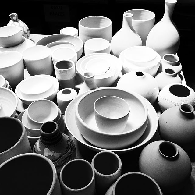A collective of pots readying themselves for the fire. #unload #pots #ceramics #ready for the #fire #manyhands #collective #collection #studio #members #bali #clayeverydamnday #eatclaylove