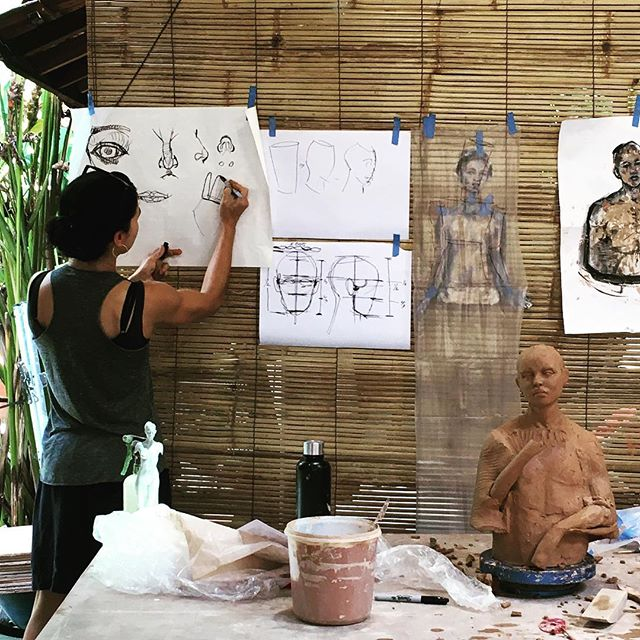 True eloquence in action. Cristina disects the proportions of anatomy and their application to the figure in clay. Even still, the sense of life she so casually breathes into the face and body of her sculpture is breath-taking to say the least.  #breath #life #figure #sculpture #clay #mastery #inaction #eloquence #workshop #awe #bali #studio #eatclaylove