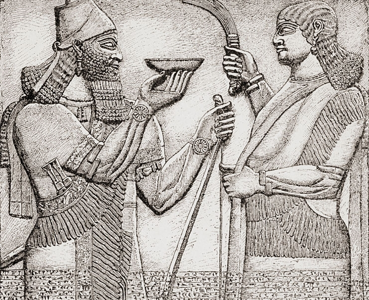 Ashur-nasir-pal II or Ashurnasirpal II, king of Assyria from 883 to 859 BC. Ancient Nimrud, Iraq. An offering as a religious ritual