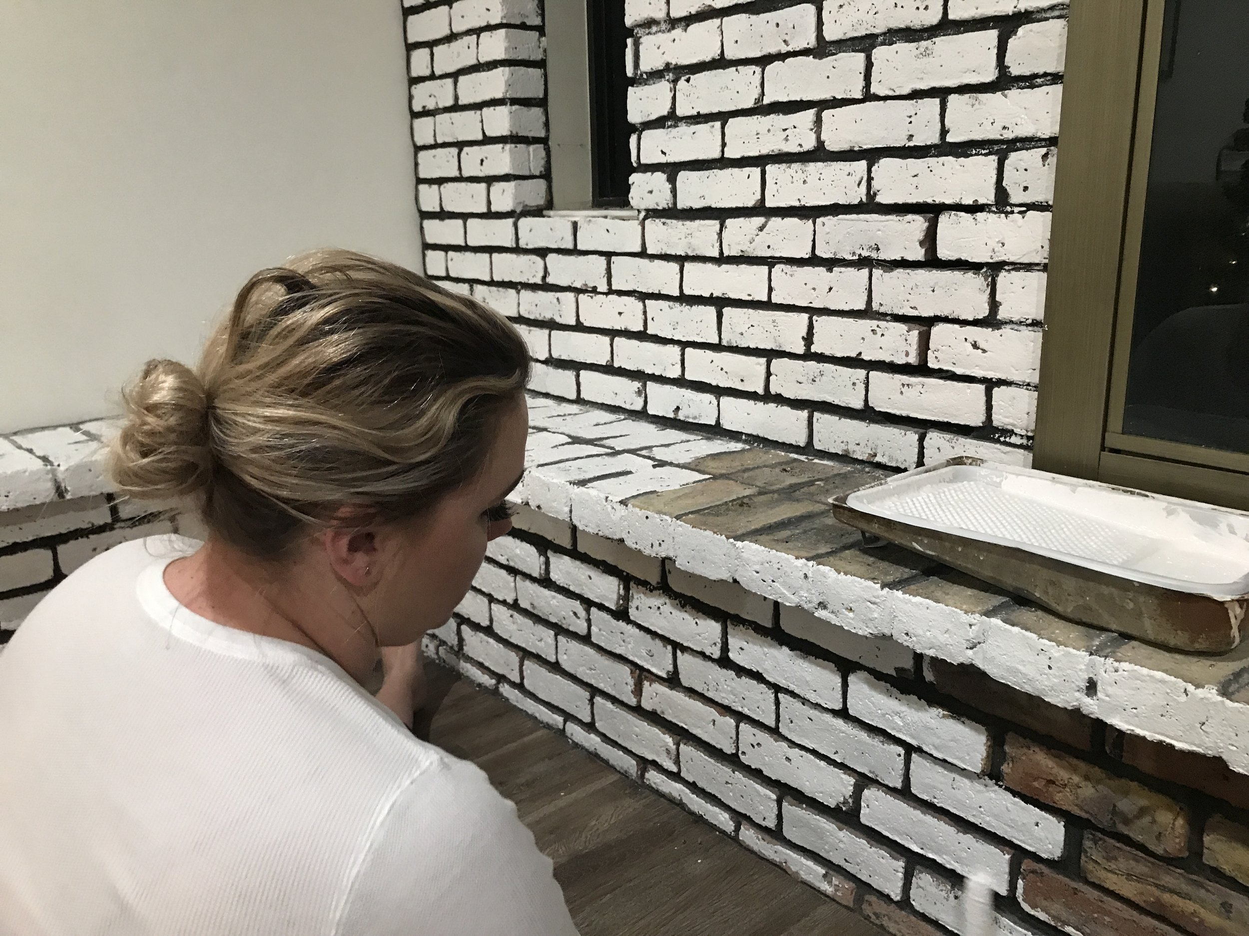 Painting the Fireplace White - German Schmear Style