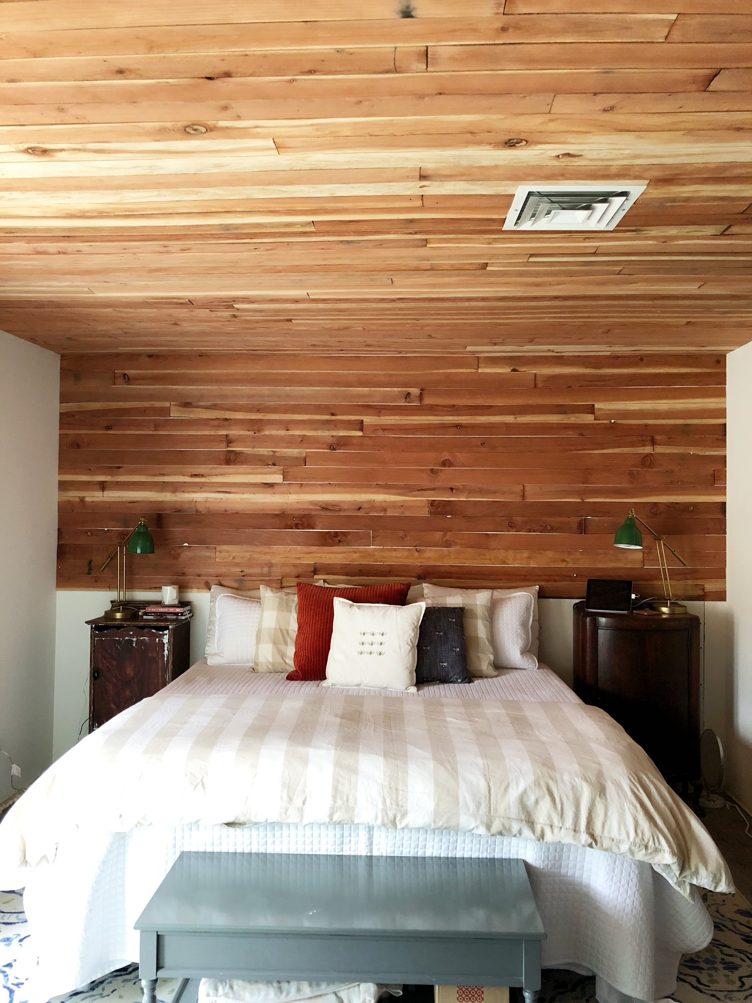 Cedar Wood Paneling in the Master Bedroom Remodel