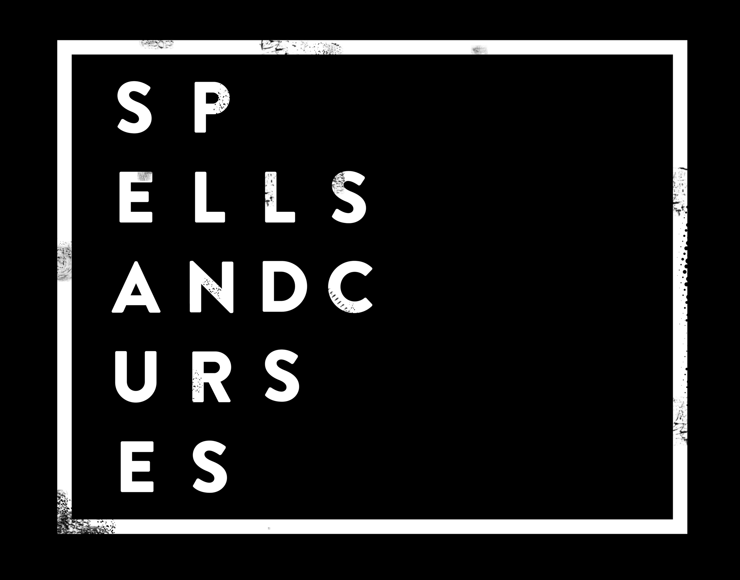 spells sticker white on black with border.png