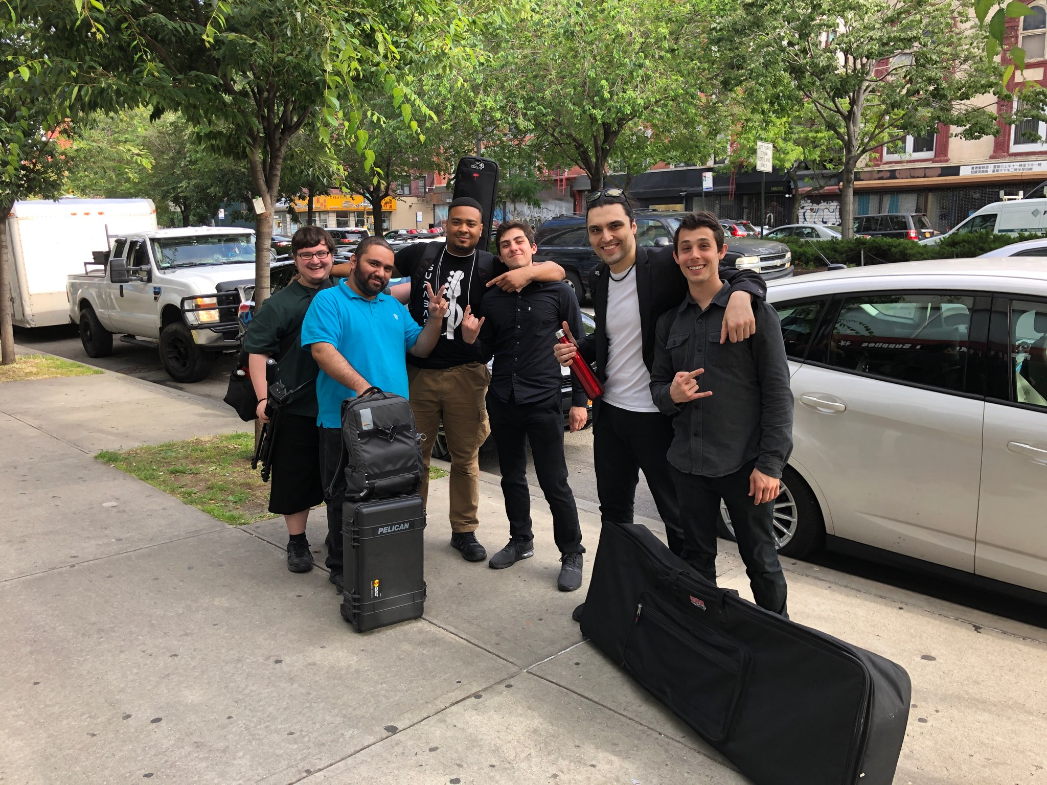 THE CREW (from L to R): Michael Scarnati (video), Jorge Almodovar (video), SupaBass (bass), Antwon Dixon (drums), theRave, Dr. Pez (keyboards) [photo: Lou Holtzman]