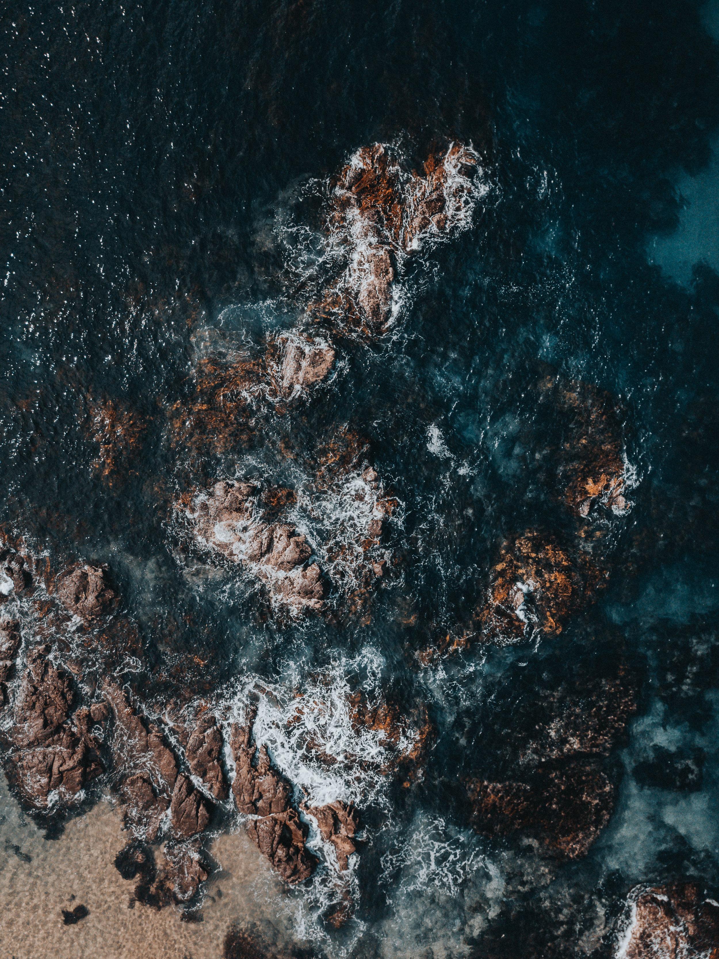 Rocks out near Spiky Beach, along the eastern coast of Tasmania.