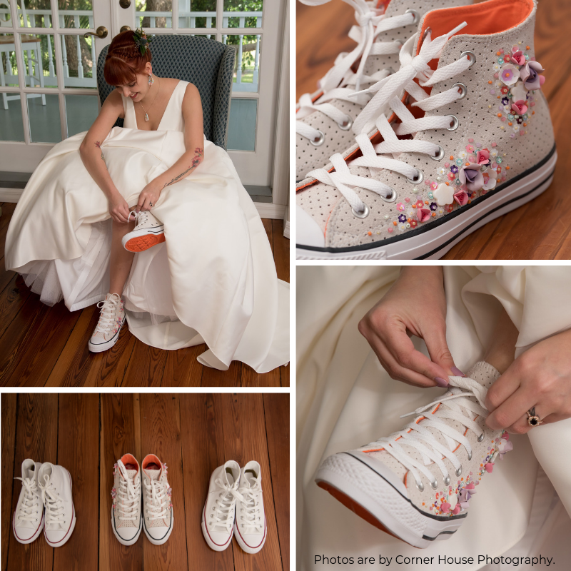 "Noemi - ""When I was looking for wedding shoes I wanted something reasonably priced for the quality of the shoe and/or something that would be unique to me and that I could wear again. Bex delivered on BOTH of those fronts. I cannot express how beautiful the shoes are and how unique they are. Bex truly takes the time to make your vision of shoes a reality for your wedding day. She stands by you through the whole process and I have never found anyone like her before and probably won't again. She is one of a kind. As someone who doesn't wear heels often and who is a lover of Converse and fun colors the she was the absolute right choice for me. If you think the shoes are gorgeous in pictures, just wait until you see them in person and wear them on your wedding day. I cannot say enough how perfect they are, how ME they are, and how much I just love them."""