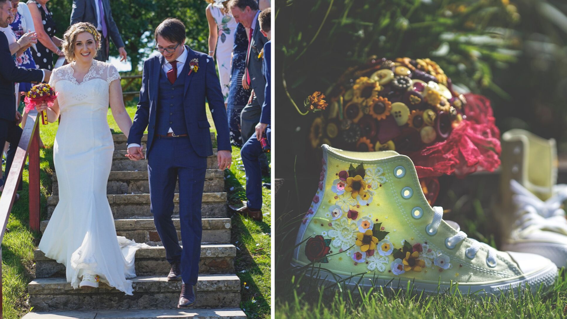 """Rachel - """"Bex made me a pair of beautiful shoes for my wedding day 24/08/2019. She was so helpful over the phone and kept me informed all the time through emails as she was making my converse. Not being very arty myself I gave her a rough idea of what I was after and let her sort of go wild with designing them, I definitely wasn't disappointed! The shoes are so beautiful and I was over the moon when I received them! I'd recommend her to anyone!"""""""