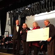"SOMA receiving ""The Big Check"" from Investors Bank at our February 2019 Concert"