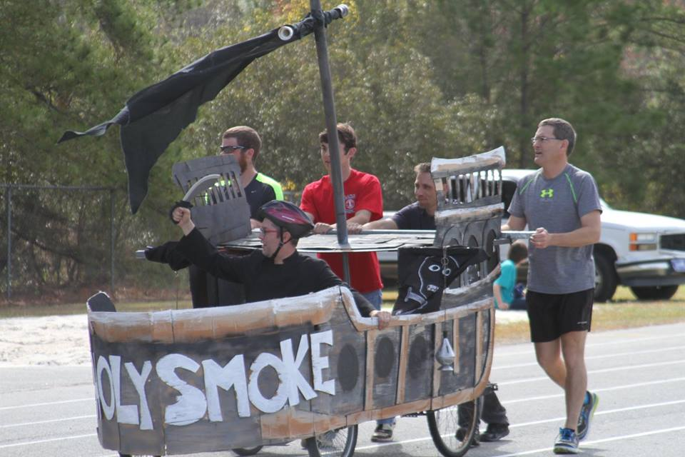 The annual bed race fundraiser for Family Promise - our team was the Holy Smoke