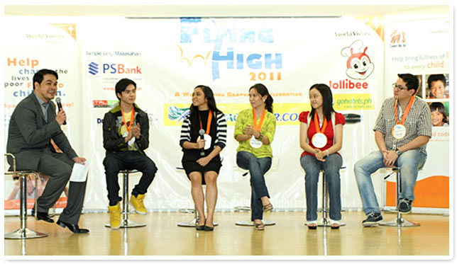 Mr. Joaquin Boris, World Vision director interviews the Jollibee Yumbassadors on what is their secret in becoming youth achievers.