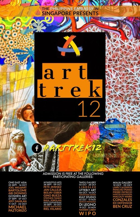 The Art Trek 12 poster was designed by Dr. Ana Ancheta, a budding artist who is also the wife of Consul General Vic Dimagiba of the Philippine Embassy in Singapore. The concept for the poster aims to give a preview of the artists to be featured in this annual art festival of the Embassy.