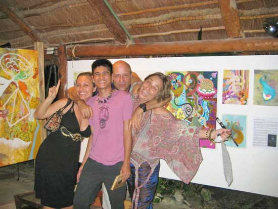 Exhibition day at Ondarte International Artist Residency Mexico with guests and host Maribel Bianchi (right).