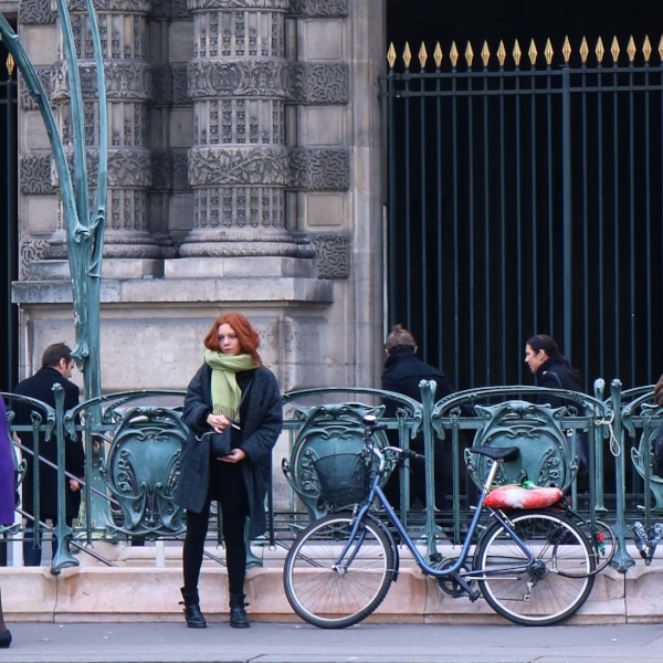 Young woman near the Louvre