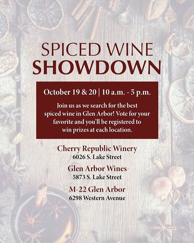 Mark your calendars! We are participating in a spiced wine showdown with M22 and Cherry Republic. 🍷🎃