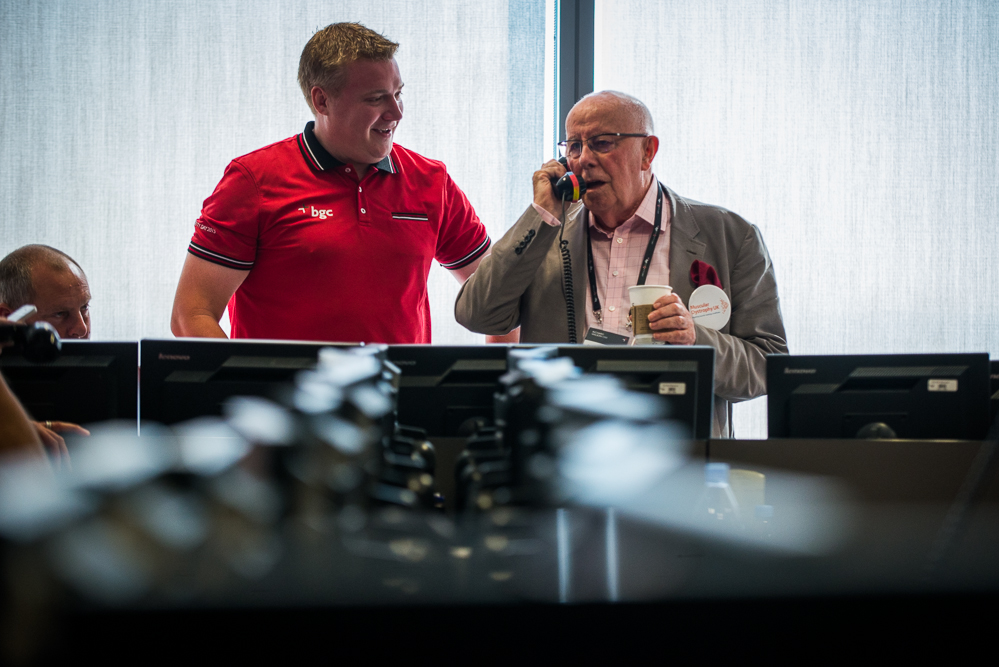 Richard Wilson OBE representing the charity at the BGC charity day making trades on the floor.