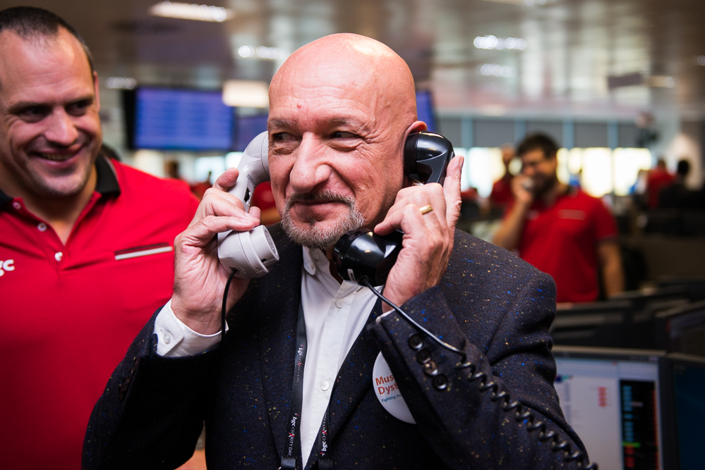 Sir Ben Kingsley on the trading floor at BGC for a celebrity charity fundraiser.