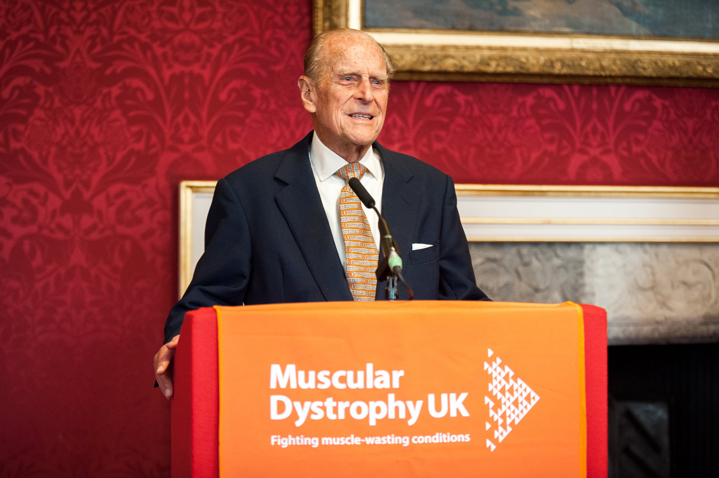 The Duke of Edinburgh addresses attendees at a special event at St. Jame's palace for those affected by a form of muscular dystrophy.