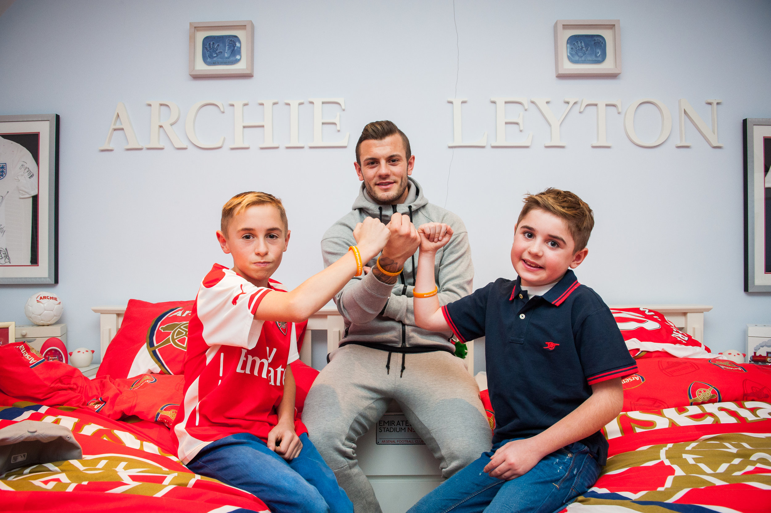 Jack Wilshere with Archie (right) & Leyton Hill (left) at their family home. Archie has Duchenne Muscular Dystrophy and his parents Louisa and Gary Hill are passionate campaigners.