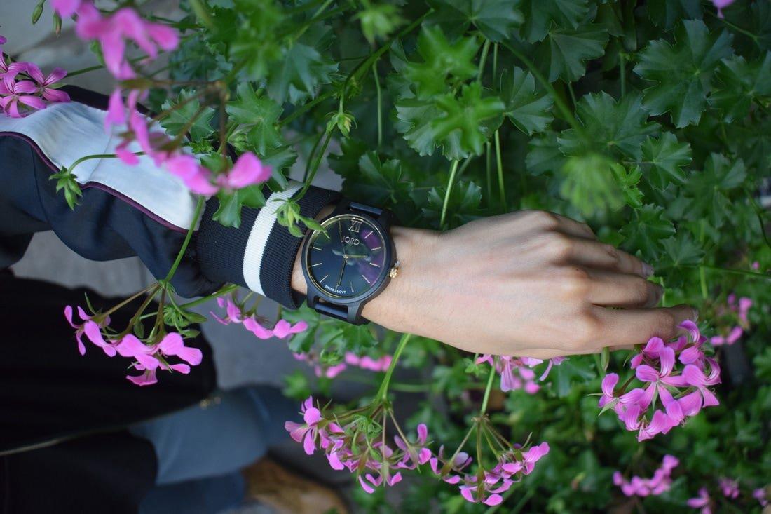 JORD Sleek Black Frankie Series Wood Watch