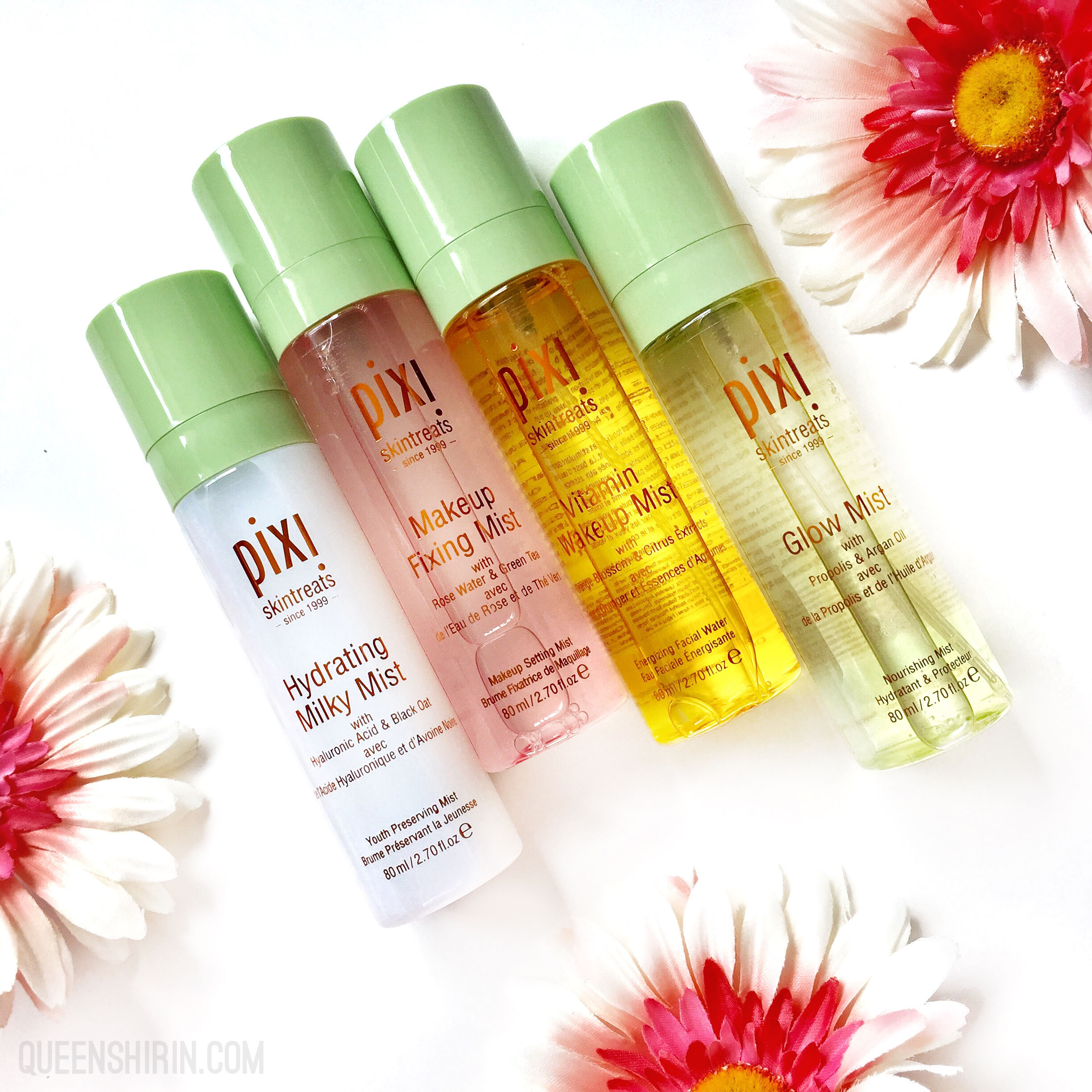 Pixi Beauty Multi-Misting Face Mists. From left to right: Pixi's Hydrating Milky Mist, Pixi's Makeup Fixing Mist, Pixi's Vitamin Wakeup Mist, Pixi's Glow Mist