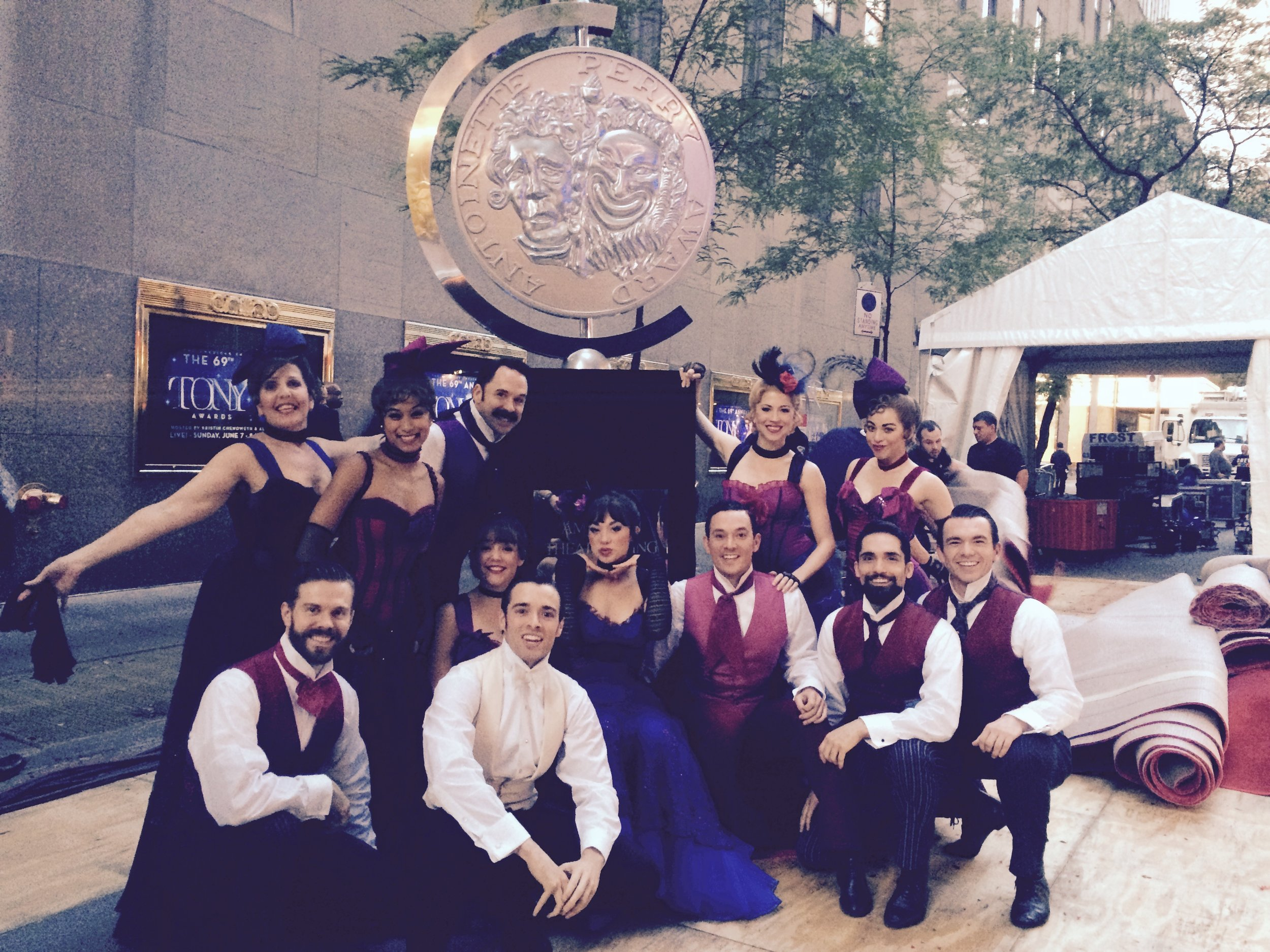 The cast after our performance at the 2015 Tony Awards. Standing: Madeline Doherty, Karla Puno Garcia, James Patterson, Ashley Blair Fitzgerald, Hannah Florence. Kneeling: myself, Cameron Adams, Corey Cott, Vanessa Hudgens, Amos Wolff, Manny Stark, Max Clayton.