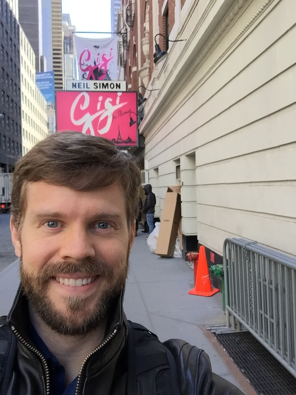 Standing in front of our marquee at the Neil Simon Theatre on W 52nd St. Can't wait for Opening!
