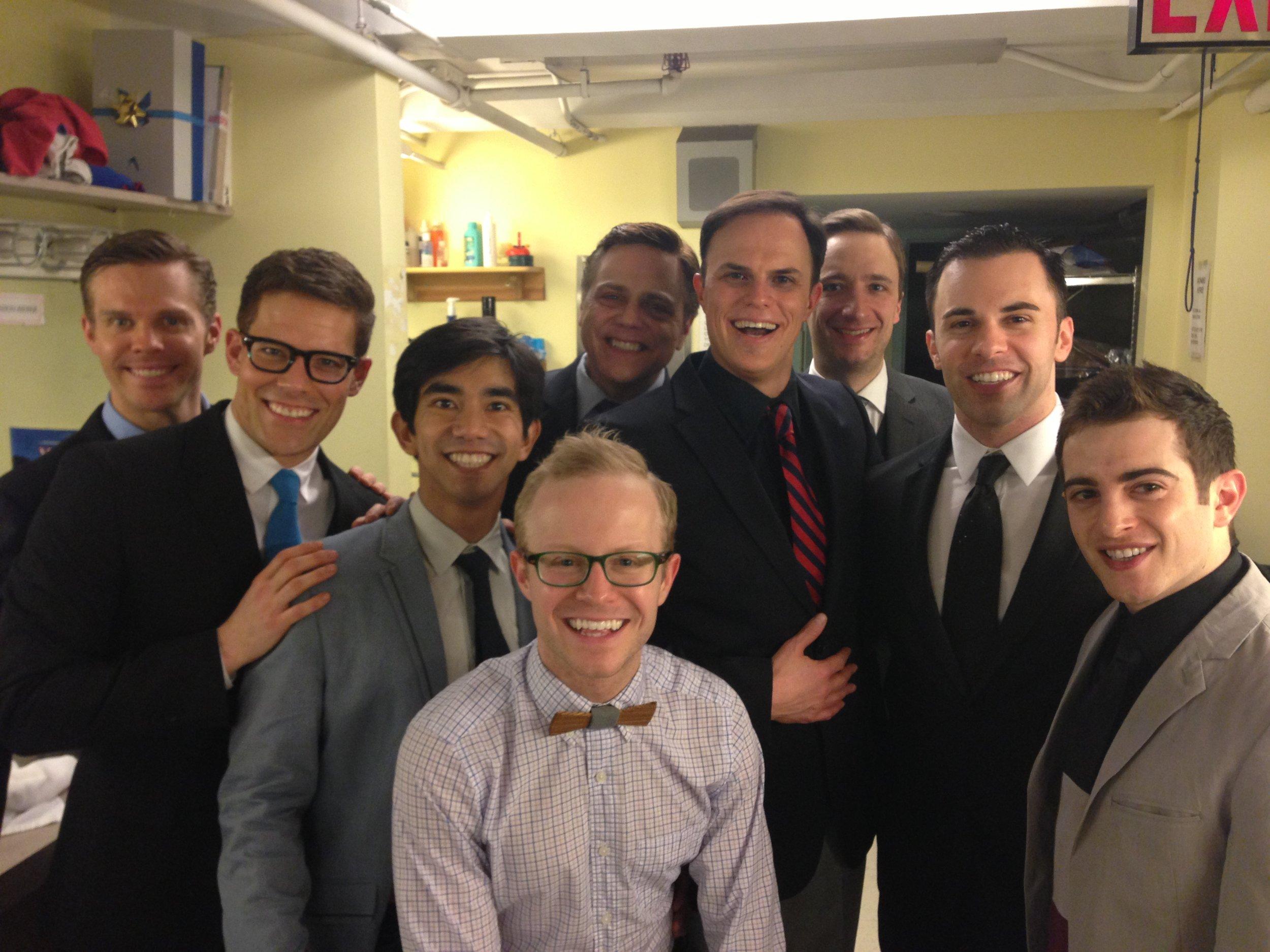 Our fabulous, hard-working men's ensemble. Left to right: myself, Brandon Bieber, Aaron J. Albano, Barrett Davis, Tom Souhrada, Corey Skaggs, Chuck Rea, James Tabeek, and Josh Assor.