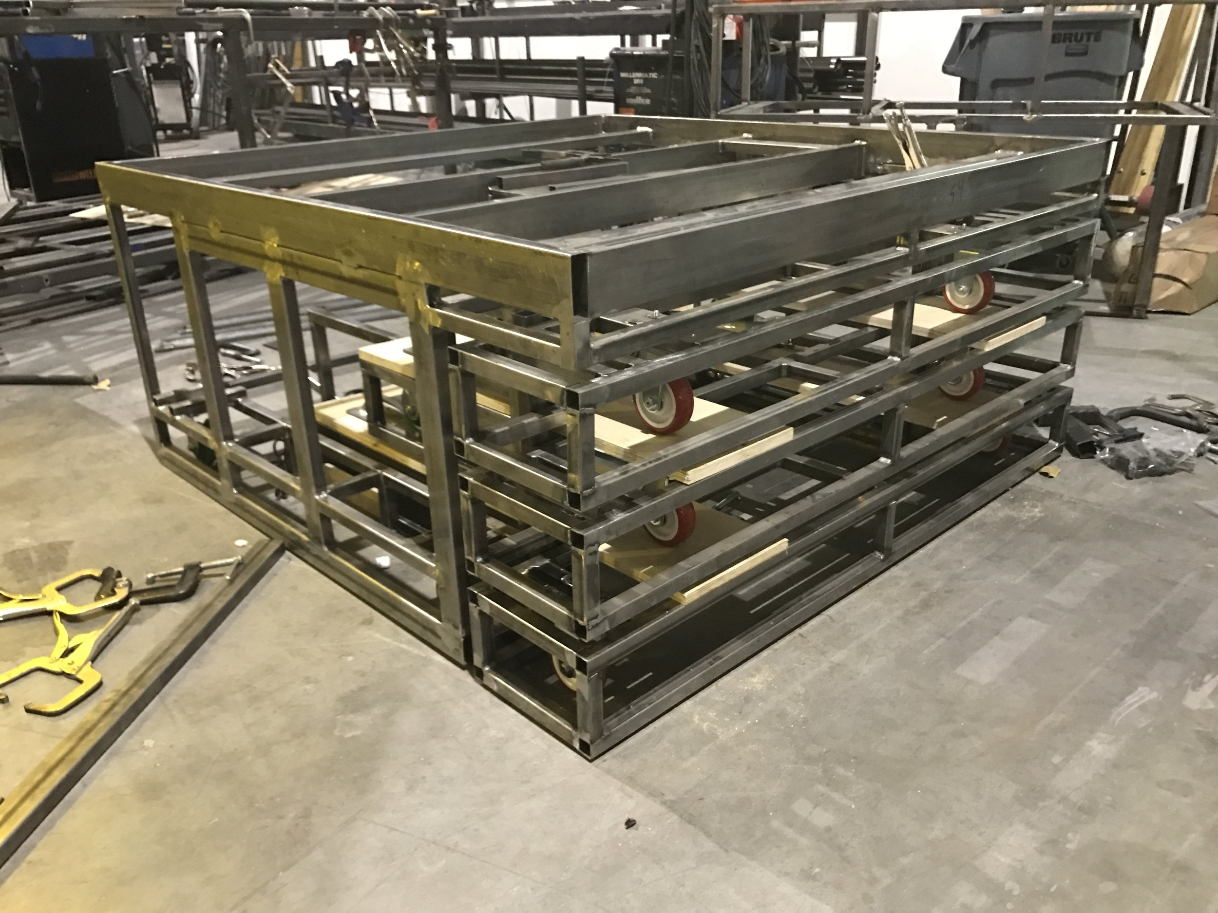 Platform frame assembled and waiting for automation installation