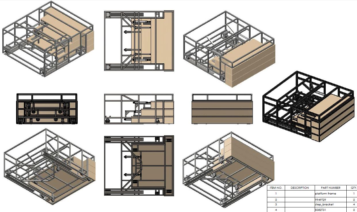 Solidworks renderings of the piano platform