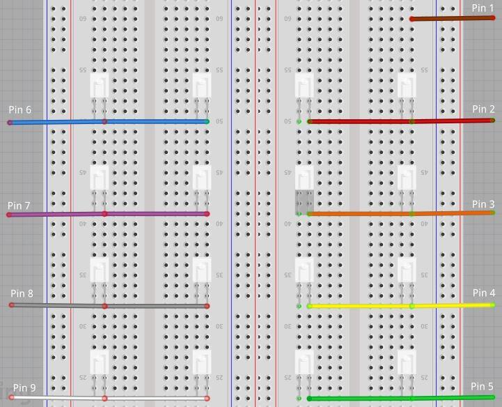 Breadboard wiring of microcontroller pins
