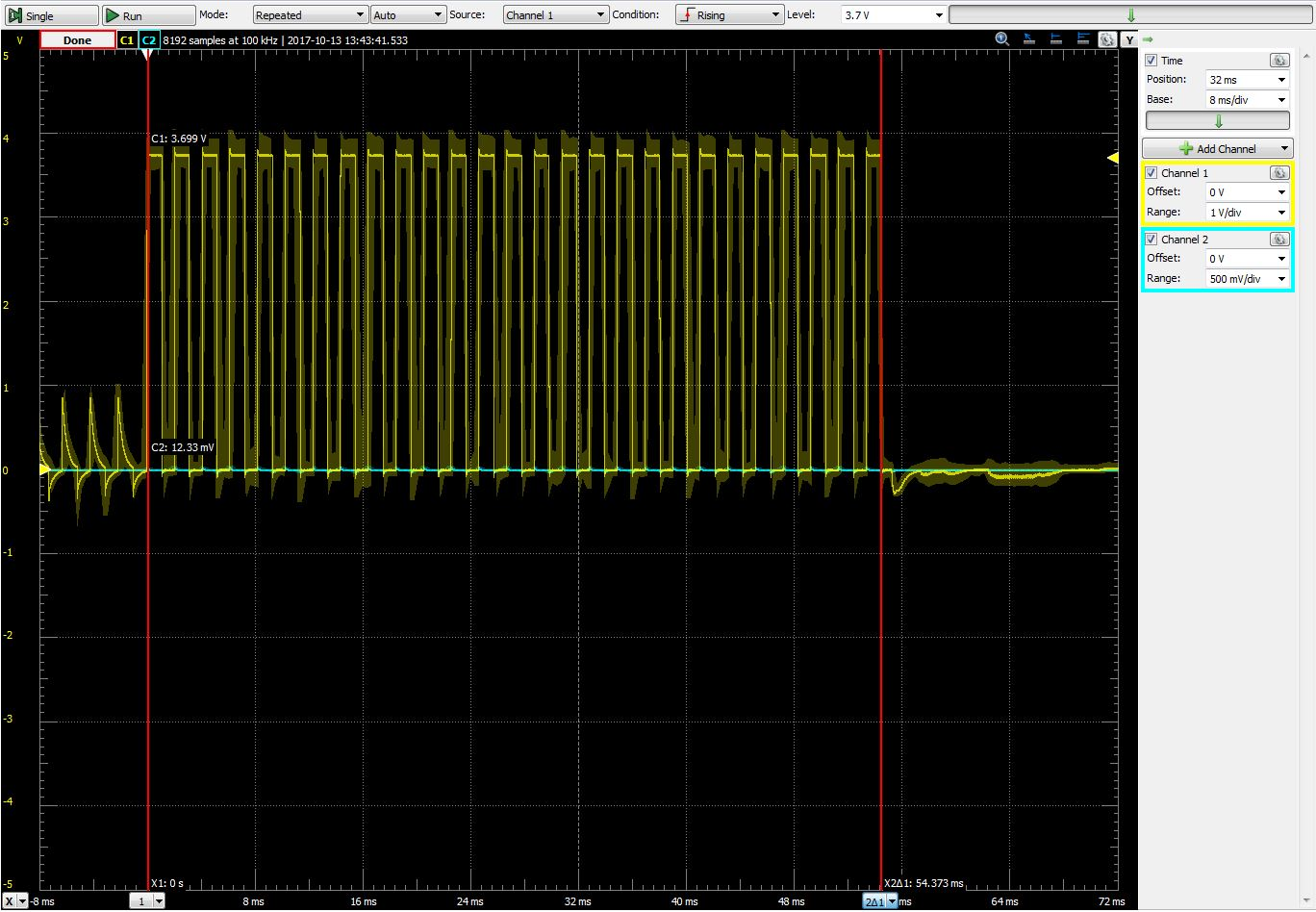 An LED on for whole 16-bit timer at 1MHz. 54.4ms for a 16-bit counter overflow.