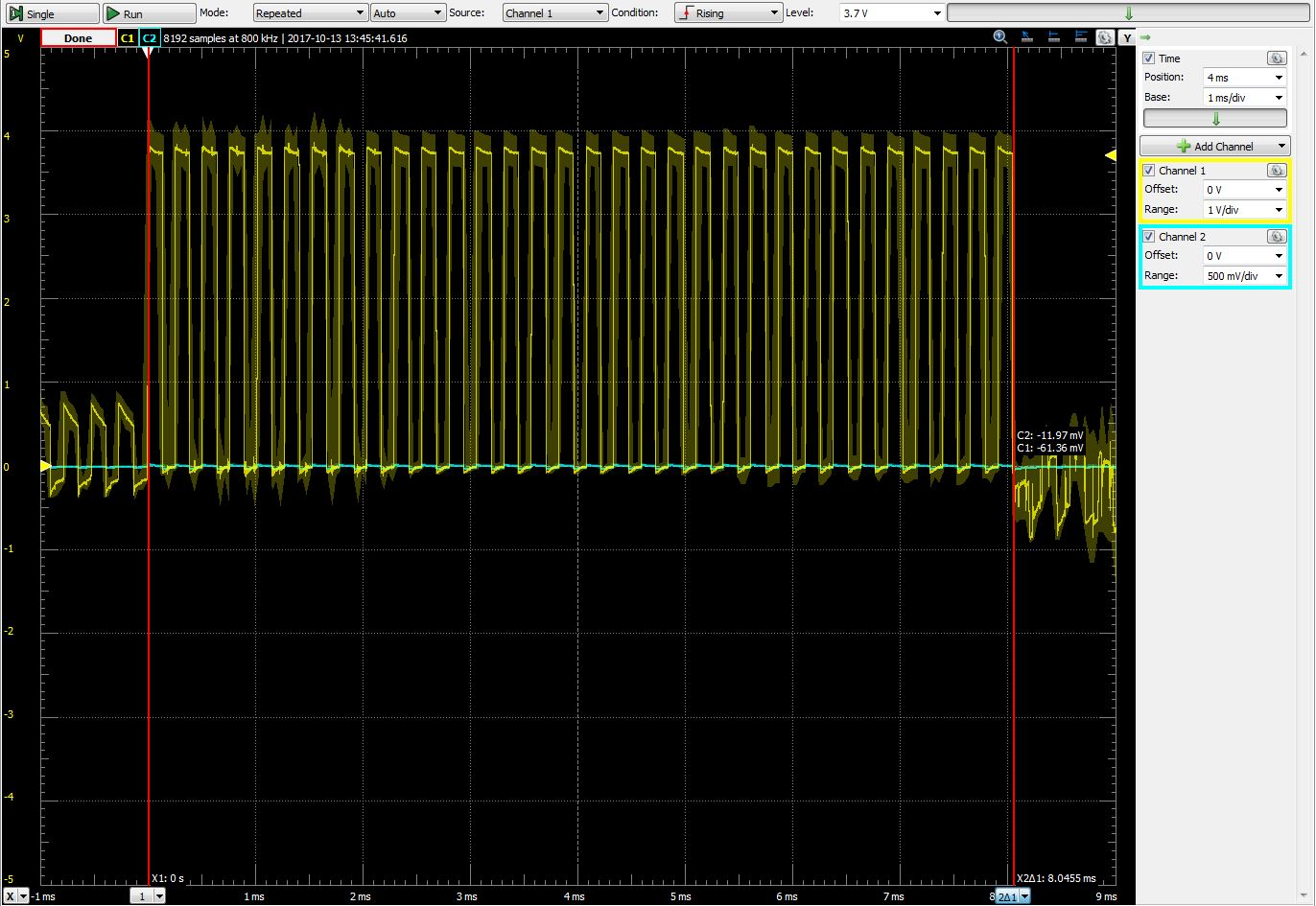 An LED on for whole 16-bit timer at 8MHz. 8.05ms for a 16-bit counter overflow.