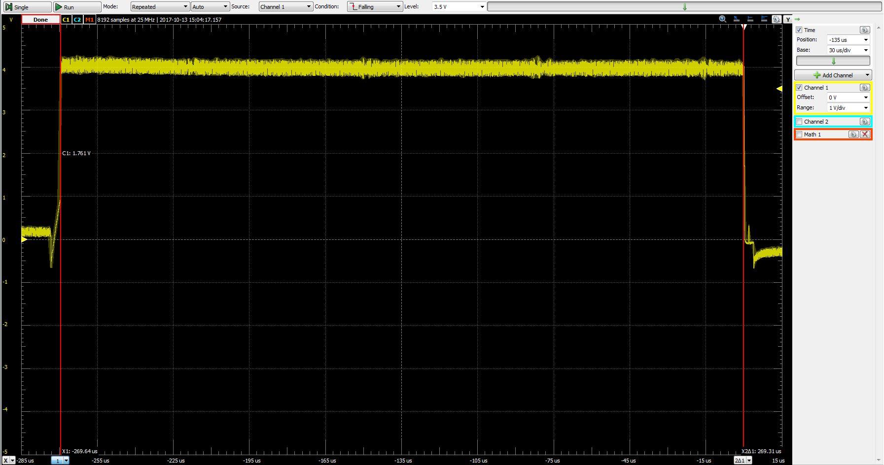 Single full intensity LED pulse at 8Mhz. 269.3μs/LED * 64 LEDs = 58.0fps.