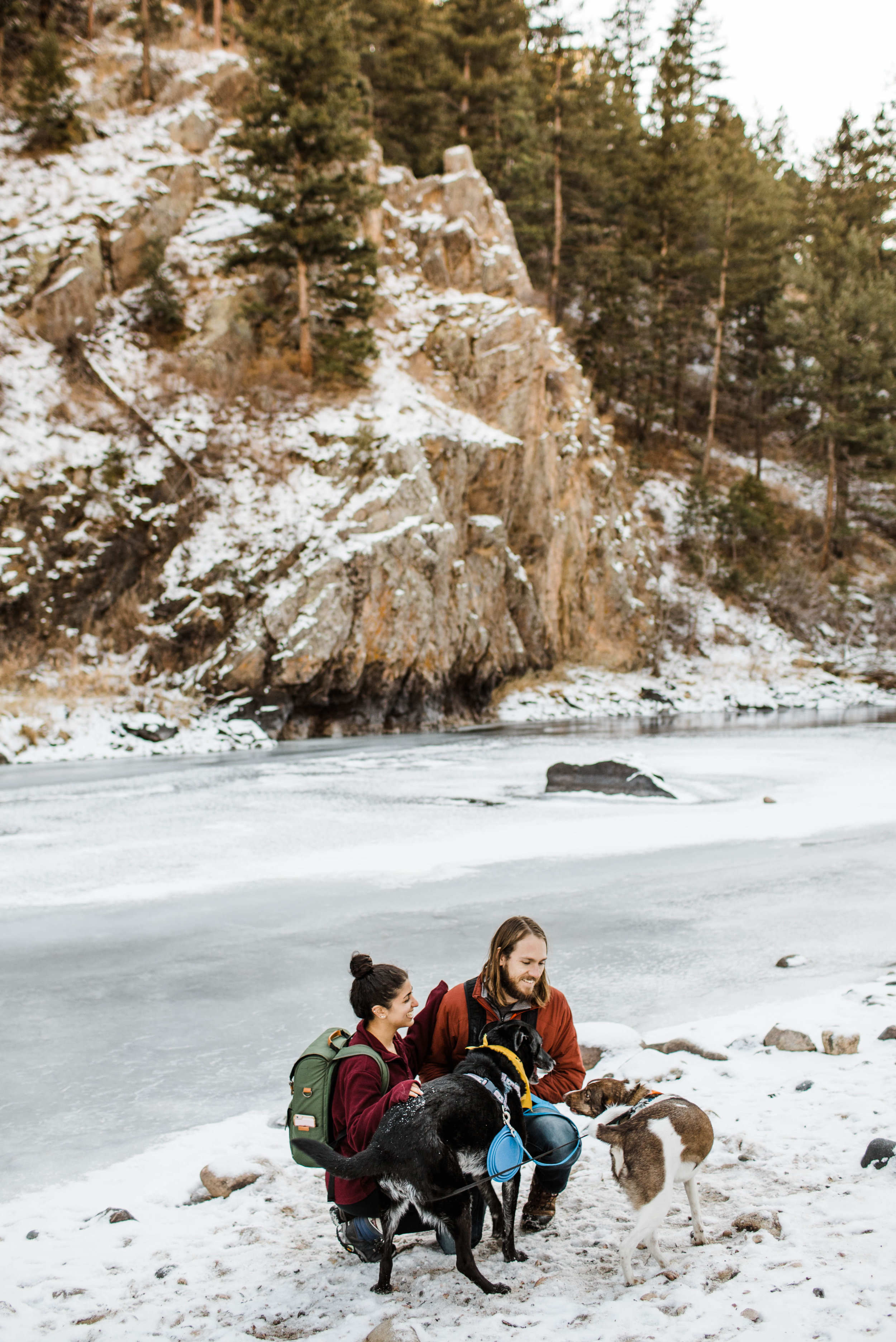 Copy of Mountain engagement photos by a frozen lake | Colorado elopement photographers