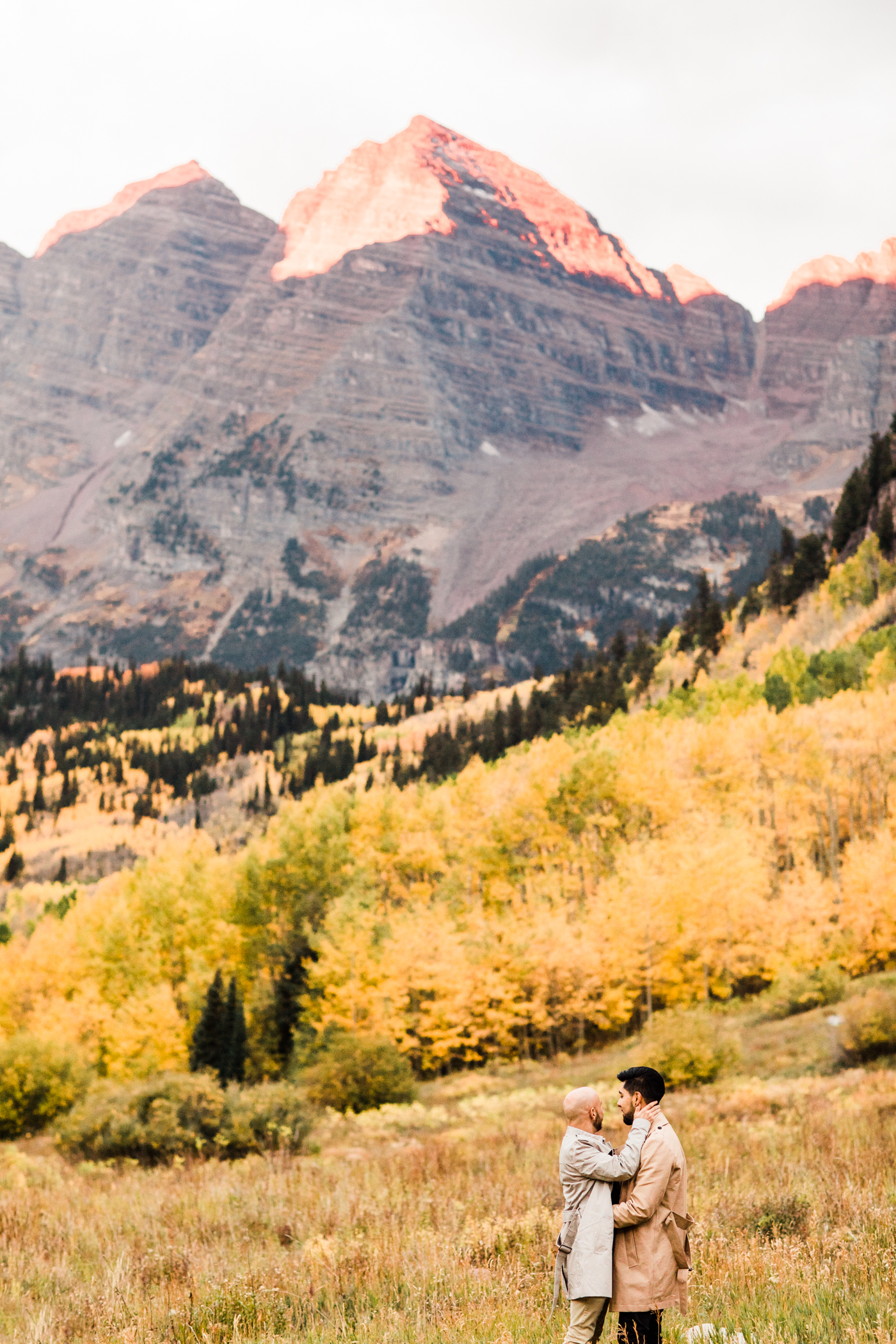 Maroon Bells Aspen, Colorado Fall Adventure Mountain Proposal Engagement Session at Maroon Bells