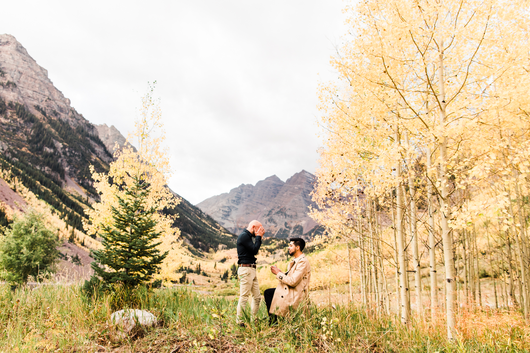 Maroon Bells Aspen, Colorado Rocky Mountain Fall Adventure Mountain Surprise Proposal Session | Maroon Bells engagement photographers