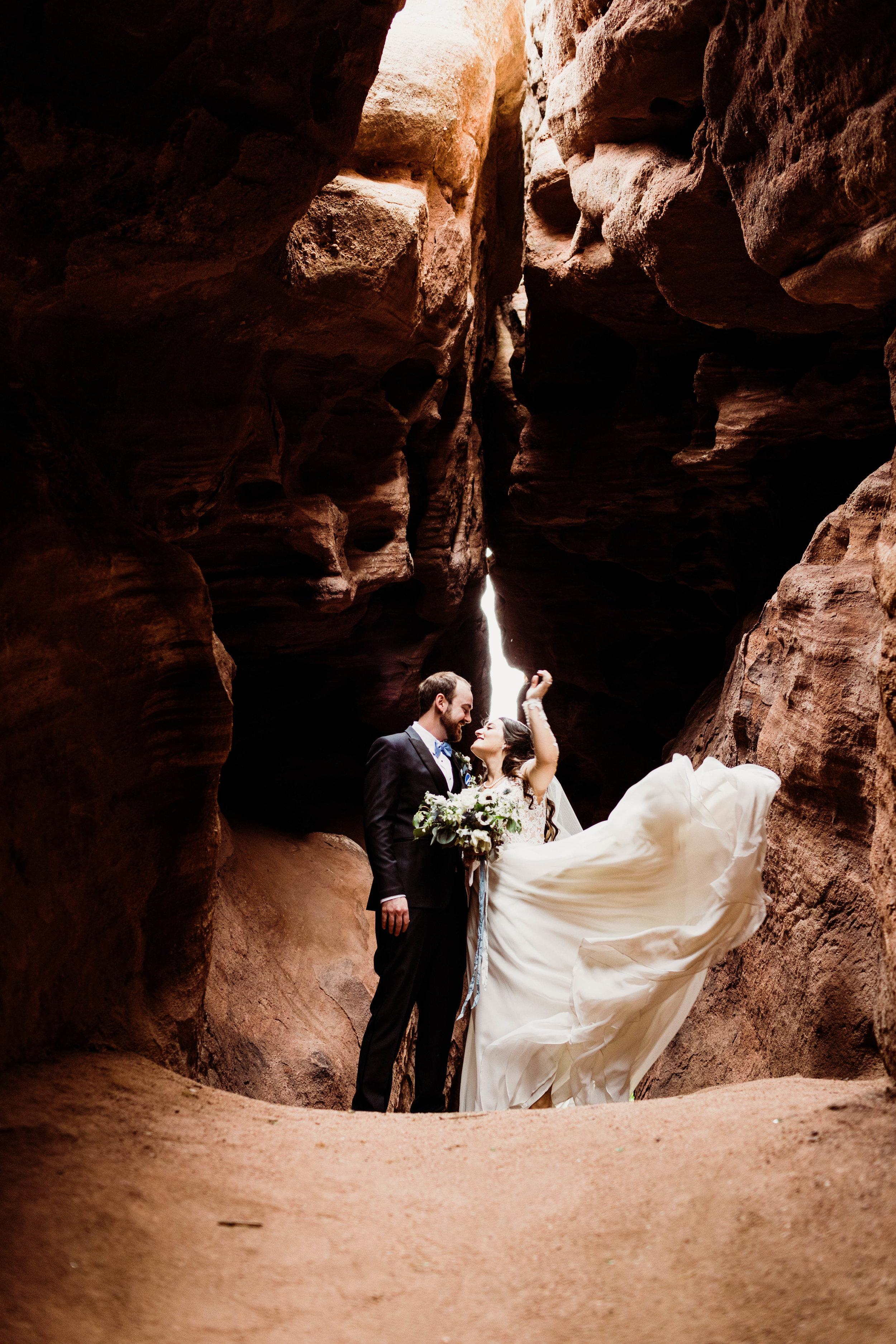 Slot Canyon Adventure Elopement | Best Elopement Photographers | Colorado elopement packages
