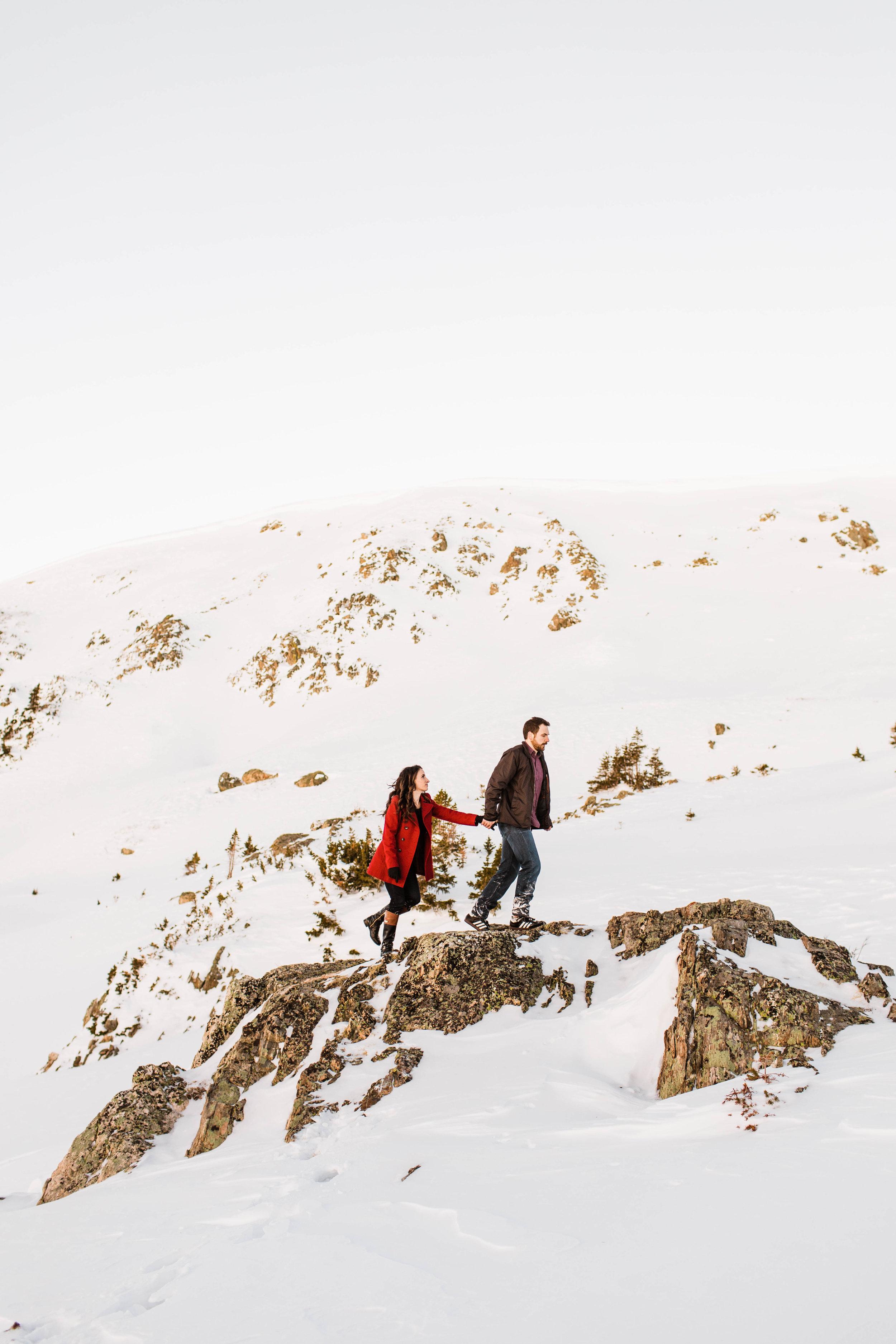 Colorado Elopement Photographer   Rocky Mountain Adventure Engagement Session